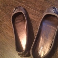 Calvin Klein snakeskin loafers Worn once inside!  Comfy and goes with anything! Calvin Klein Shoes Flats & Loafers