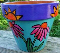 "Purple Coneflowers Under the Sun - 6"" Original Hand Painted Flower Pot"
