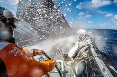 March 19, 2015. Leg 5 to Itajai onboard Team Alvimedica. Day 1. The still weakening ex-Cylone Pam serves up a dose of nastiness as the sea state continues to destabilize for the push to get east above it. Charlie Enright driving at high speed - Amory Ross / Team Alvimedica / Volvo Ocean Race