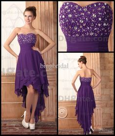 Wholesale Lovely Purple Short Prom Dresses Ruched Chiffon Beads Sweetheart Hi Low Gown Actual Images, Free shipping, $89.6-104.38/Piece | DHgate