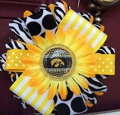 Iowa Hawkeyes Inspired Ribbon Flower Clippie Bow. $8.00, via Etsy.