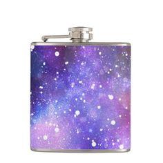Space galaxy stars purple magical drink flask art