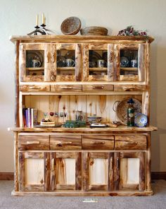 Astounding log cabin cabinetry for the kitchen or dining room with Mountain Woods Furniture.