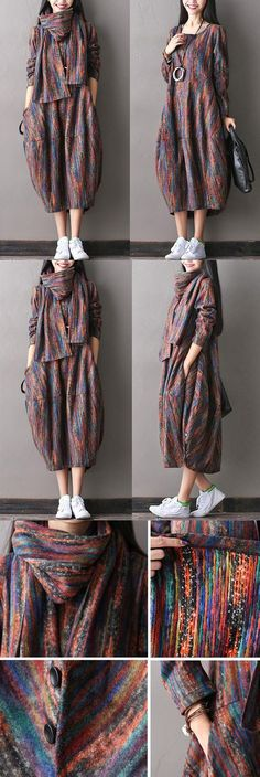 Women woolen autumn dress for a charming look! buykud.com