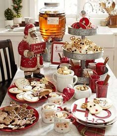 A Festive Christmas Table Decoration Pottery Barn Christmas, Christmas Kitchen, Noel Christmas, Rustic Christmas, Christmas Cookies, Christmas Morning, Snowman Cookies, Christmas Breakfast, Christmas Tablescapes