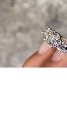 Trilogy 3 stone diamond engagement ring with round diamonds Eternity Ring Diamond, Diamond Solitaire Rings, Halo Diamond Engagement Ring, Engagement Ring Styles, Designer Engagement Rings, Wedding Ring Bands, Wedding Jewelry, Fashion Rings, Ring Designs