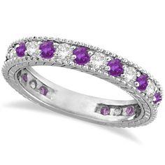 1.08ct Diamond & Purple Amethyst Eternity Band Mother's by Allurez