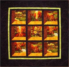 Quilt Inspiration: Free Pattern Day ! Autumn Leaves.  The perspective and dimension in this one are amazing.  Love the colors, too.