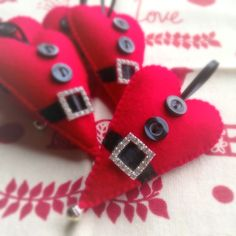 Hand stitched felt Santa Heart