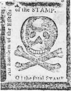 A satirical representation of the 1765 tax stamp widely circulated in the American colonies.