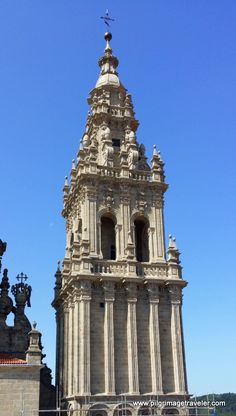 A close-up of the restored western tower, on the rooftop tour of the Cathedral of Santiago de Compostela, Spain.
