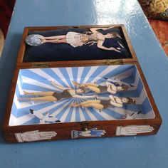 Circus scene in up-cycled cigar box