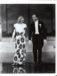 """Ginger Rogers as Linda Keen in """"Shall We Dance"""" (1937) The fabulous white and red flower gown by Irene, worn during the """"They All Laughed"""" number."""