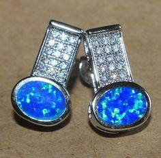 blue fire opal Cz earrings gemstone silver jewelry modern cocktail stud style DV #Stud
