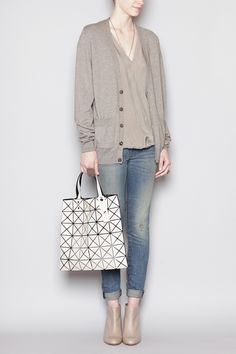 97b1f99497 Totokaelo - Bao Bao by Issey Miyake - Square Lucent Tote - Beige White  Style