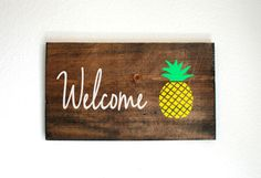 Welcome Pineapple Sign. Hand Painted. Home. Rustic. Pineapple Decor. Welcome. Gift. Front Porch. Front Door. Shabby Chic. Gift. by TheHouseCrafts on Etsy https://www.etsy.com/listing/384706944/welcome-pineapple-sign-hand-painted-home
