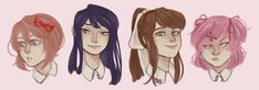"""yawniverse: """" UHH messy quick doki doki literature headshots i'm taking a break from commissions wheeze they're still open tho (monika is my new best girl) COMMISSION INFO:..."""