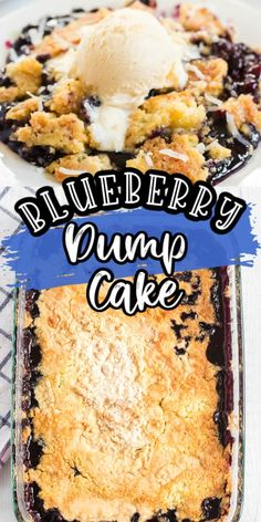 Our Blueberry Dump Cake is as easy as it gets It only has four ingredients including canned blueberry pie filling and boxed cake mix Then just as the name suggests you dump them all together and bake In no time you have a delicious blueberry dessert Blueberry Dump Cakes, Blueberry Desserts, Dessert Dishes, Dessert Recipes, Dessert Ideas, Potluck Recipes, Yummy Recipes, Gumdrop Cake Recipe, Desert Recipes