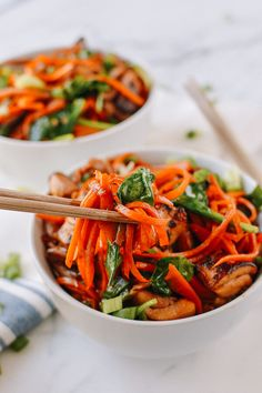 Stir-fried Carrot Noodles with Chicken, by thewoksoflife.com