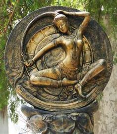 Holy Mother Earth, or Phra Mae Thorani. Mae Thorani is a Thai and Laotian Earth mother figure found beneath the Buddha in statues and paintings. She is shown wringing the waters of detachment out of her hair that drowns demons sent to detract the Buddha.  He is frequently seen touching the Earth/Phra Mae for aid.