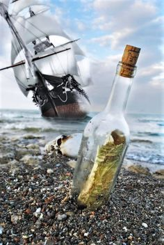 Tall Ship Message In A Bottle by Joseph Halasz - Arrgggh, a pirate ship be near. Get the message in a bottle – it has the bearings for a tr - Pirate Art, Pirate Life, Pirate Ships, Pirate Boats, Tall Ships, Bateau Pirate, Old Sailing Ships, Message In A Bottle, Sail Away