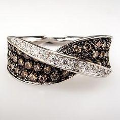 White Chocolate Diamond Band Ring 14K White Gold