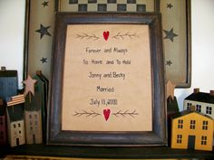 Primitive Wedding Sampler Stitchery Custom Made for you PERSONALIZED Country Picture Handmade Rustic Love Hearts Anniversary Gift UNFRAMED. $16.00, via Etsy.