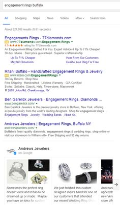 """How are businesses using Google Posts?—A screenshot showing the search results page for """"engagement rings Buffalo"""". The fourth result down is Andrews Jewelers, below which is a carousel of shareable 'cards' containing one or more images and a snippet of text. The title above it reads 'Andrews Jewelers on Google'; Details>"""