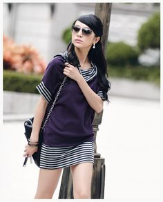 Stripy Short Batwing Sleeves Shirt Purple