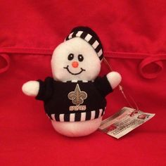 "NFL Snowman 5"" New Orleans Saints Logo Plush Xmas Holiday Smiley Face Ornament   #NFL #NewOrleansSaints"