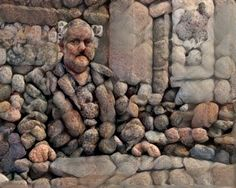 Man in stone art. Pop Art Drawing, Art Drawings, Land Art, Rock Sculpture, Cubism Art, Rock And Pebbles, Rock Design, Stone Crafts, Pebble Art