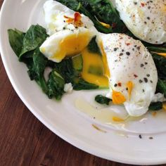 Sauteed Garlic Spinach & Eggs