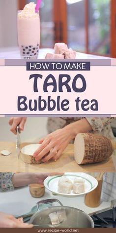 How To Make Taro Bubble Tea Smoothie Recipe - Tea recipes - Taro Bubble Tea, Bubble Tea Shop, Bubble Milk Tea, Taro Smoothie, Tea Smoothies, Smoothie Recipes, Taro Milk Tea Recipe, Milk Tea Recipes, Recipes