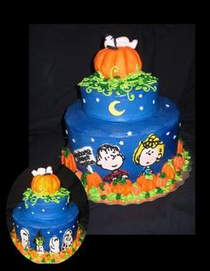 """The Great Pumpkin - 2 layer 9"""" and 1 layer 6"""" covered and decorated with BC The Pumpkin on top is RKT covered with fondant and a fondant Snoopy."""