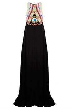 Mara Hoffman Maxi Dress Embroidered Black
