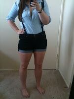 F21 jean shorts with suspenders