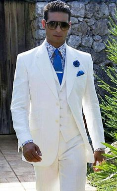 Men's 3 Button Off White Vested Suits | White Suits for Wedding