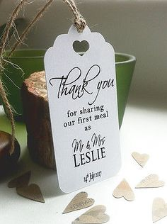 Thank You For Sharing Our First Meal Personalised Wedding Card Napkin Tie Plate Tags - Contemporary Lovebirds Lg White Card Wedding Tags, Wedding Favor Bags, Wedding Thank You, Napkin Cards, Heart Place, July 14th, Personalized Wedding Favors, Favor Tags, Card Wallet
