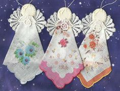 12 Angels Handmade, embroidery, lace, handkerchief, ornaments #5896…