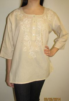 Women's Cream Cotton Tunic Top $24.99 on sale hurry and shop while supplies last. Cotton tunics for all sizes - plus size Indian tunic kurtis sale - ships from YE CT USA