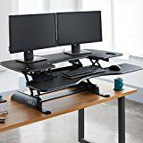 #ad VARIDESK - Height-Adjustable Standing Desk - Pro Plus 48 - Black  VARIDESK will Change the Way You Work! This height-adjustable desk sits on top of your existing desk and allows you to work comfortably from either a sitting or standing position. If you like the two-tier design, but need to fit multiple monitors or extra hardware on your desktop, you'll want the Pro Plus 48. The two-tiered design with separate keyboard/mouse deck gives you plenty of room for basics and accessories..
