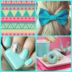 Love the nails Pink Turquoise, Turquoise Jewelry, Colorful Nail Designs, Nail Art Designs, Cute Nails, Pretty Nails, Nail Colors, Colours, Color Me Beautiful