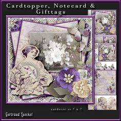 Cardtopper with Inlet purple flower lady 231 on Craftsuprint - View Now!