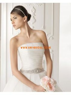 Elegant Strapless Beaded Pleated Bodice Organza Wedding Dres...