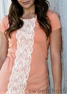 Refashion - Easy Lace Shirt DIY- Great for that top you loved before the BBQ sauce won!