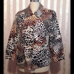 ERIN LONDON JACKET 300/111  ✅SVDP NWOT This is a gorgeous short Jacket, 97% Cotton 3% Spandex . The colors are Coco/ Dark Sage/Black/Dark Brown Leopard spots. White/Gold trim button closure. Two front pockets with buttons. Shoulder pads. One spare button.  Top- Rated Seller  Fast Shipper  $ Discount on Bundles  Free Gift For All Orders $20 & Up  PayPal Trades Erin London Jackets & Coats