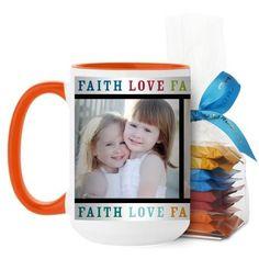 Faith Love Family Mug, Orange, with Ghirardelli Minis, 15 oz