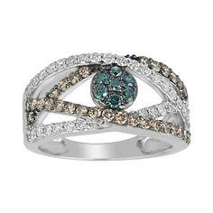 1 ct. tw. Blue, White, & Cocoa Diamond Ring #fredmeyerjewelers #FMJLove