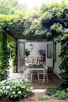 Amagansett house with patio doors on garden room Outdoor Rooms, Outdoor Gardens, Outdoor Decor, Indoor Outdoor, Outdoor Living Spaces, Outdoor Retreat, Backyard Retreat, Outdoor Photos, Outdoor Events