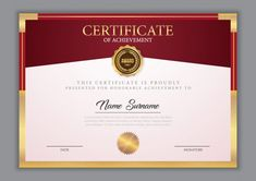 Certificate template with gold element Premium Vector Certificate Layout, Certificate Of Achievement Template, Certificate Design Template, Business Card Design, Vector Free, Shower Baby, Gold, Vintage, Photos